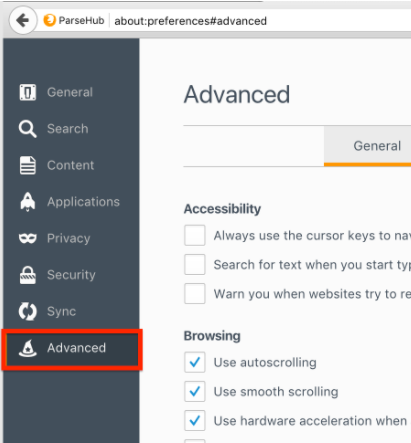 Configure proxy setting on Parsehub - netnut residential proxy network 1